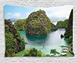 Ocean Island Decor Tapestry by Ambesonne, Landscape of Majestic Cliff in Philippines Wild Hot Nature Resort Off Picture, Wall Hanging for Bedroom Living Room Dorm, 60 W X 40 L, Green Brown and Blue