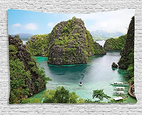 Ocean Island Decor Tapestry by Ambesonne, Landscape of Majestic Cliff in Philippines Wild Hot Nature Resort Off Picture, Wall Hanging for Bedroom Living Room Dorm, 60 W X 40 L, Green Brown and (Hot Pictures For Bedroom)