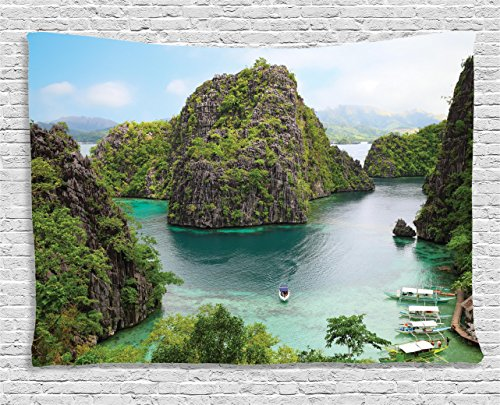 nd Decor Tapestry, Landscape of Majestic Cliff in Philippines Wild Hot Nature Resort Off Picture, Wall Hanging for Bedroom Living Room Dorm, 80 W X 60 L, Green Brown and Blue ()