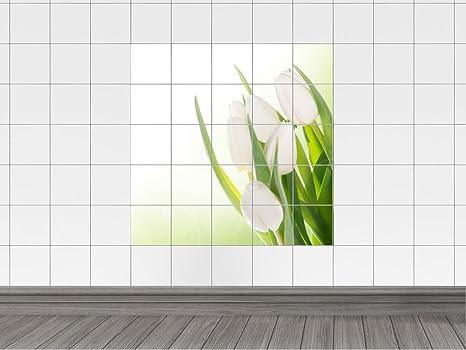 Piastrelle adesivo piastrelle immagine weisser bouquet di tulipani