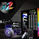 #9: OPT7 Aura Truck Wheel Well Double Row LED Rim Light Strip Kit - 4PC Complete 24 Inch Multicolor Flexible Strips - SoundSync, 16 Color Handheld & Keychain Remote Included - for Trucks SUVs Underglow