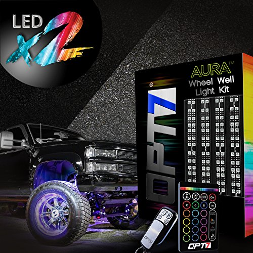 OPT7 Aura Truck Wheel Well Double Row LED Rim Light Strip Kit - 4PC Complete 24 Inch Multicolor Flexible Strips - SoundSync, 16 Color Handheld & Keychain Remote Included - - Multi Color Rims