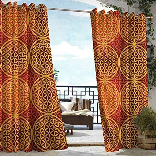 - DILITECK Grommet Curtain Country Vintage Style Flower Medieval Tones Rococo Baroque Esoteric Motif Waterproof Patio Door Panel W72 xL84 Mustard Orange