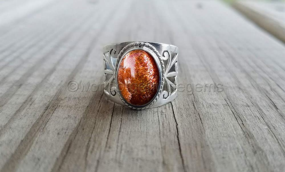 925 sterling silver designer handmade jewelry genuine gemstone jewelry mother/'s day gift ring woman dainty ring smooth gemstone ring minimalist gemstone ring filigree design ring Sunstone ring