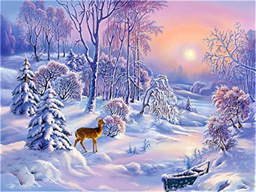 (Diy Oil Paint by Number Kit for Adults Beginner 16x20 inch - Little Elk Snow Scene, Drawing with Brushes Christmas Decor Decorations Gifts (Without)
