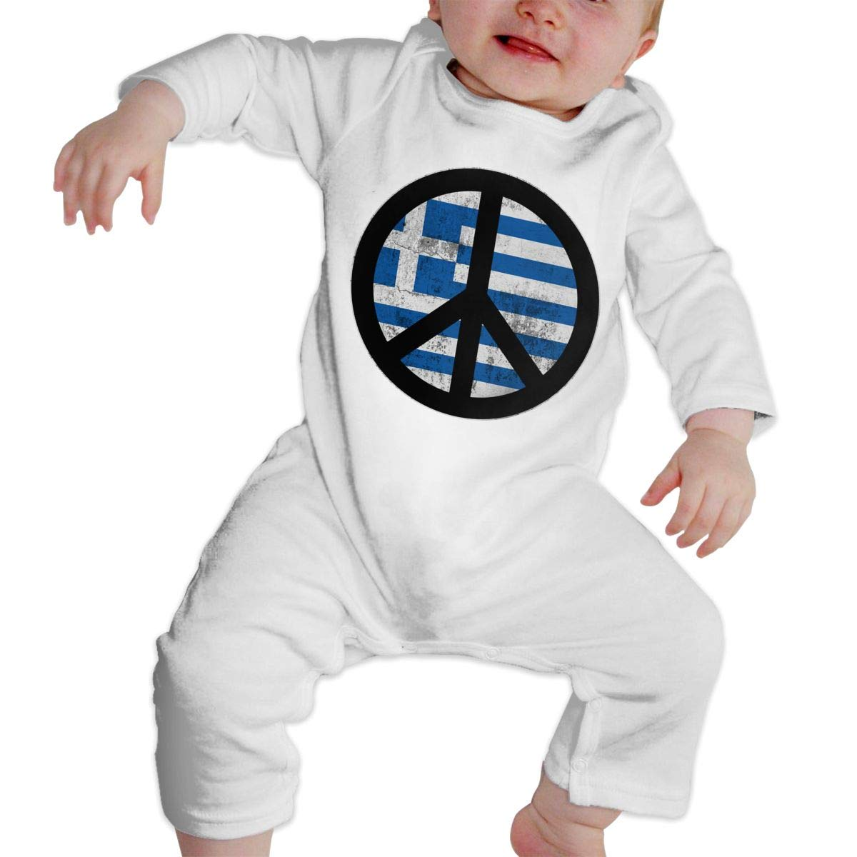 A1BY-5US Infant Baby Boys Girls Cotton Long Sleeve Greece Greek Flag Peace Sign Jumpsuit Romper Funny Printed Romper Clothes