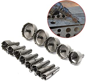 Rocaris 13Pcs 16mm-53mm Stainless Steel Carbide Tip TCT Metal Drill Bit Hole Saw Set (Color: silver)