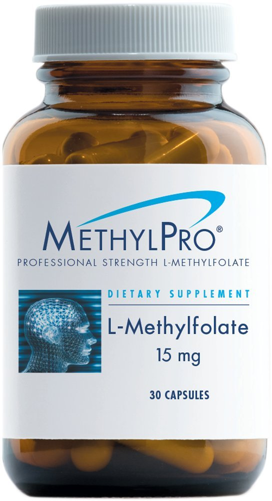 MethylPro L-Methylfolate 15 Milligrams - 15000 Micrograms Professional Strength Active & Optimized Folate, 5-MTHF with No Gluten or Dairy, Mood + Immune Support (30 Capsules)