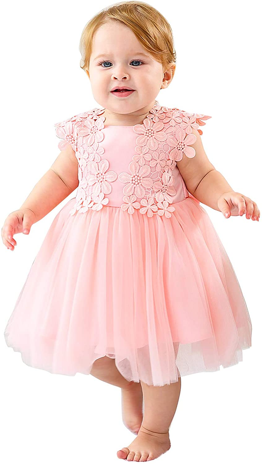 Happy Cherry Baby Girls Sleeveless Lace Formal Dress for Party Wedding 7-7  Months
