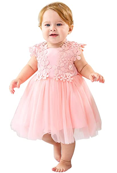 7ac48e521 Easter Petal Dress for Little Girls Sleeveless A-Line Formal Dress with  Bowknot Baby Pink