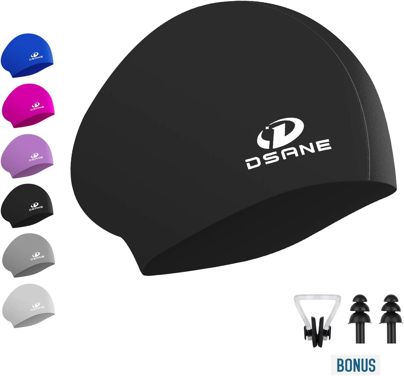 Womens Silicone Swim Cap for Long Hair,3D Ergonomic Design Silicone Swimming Caps for Women Kids Men Adults Boys Girls with Ear Plug and Nose Clip