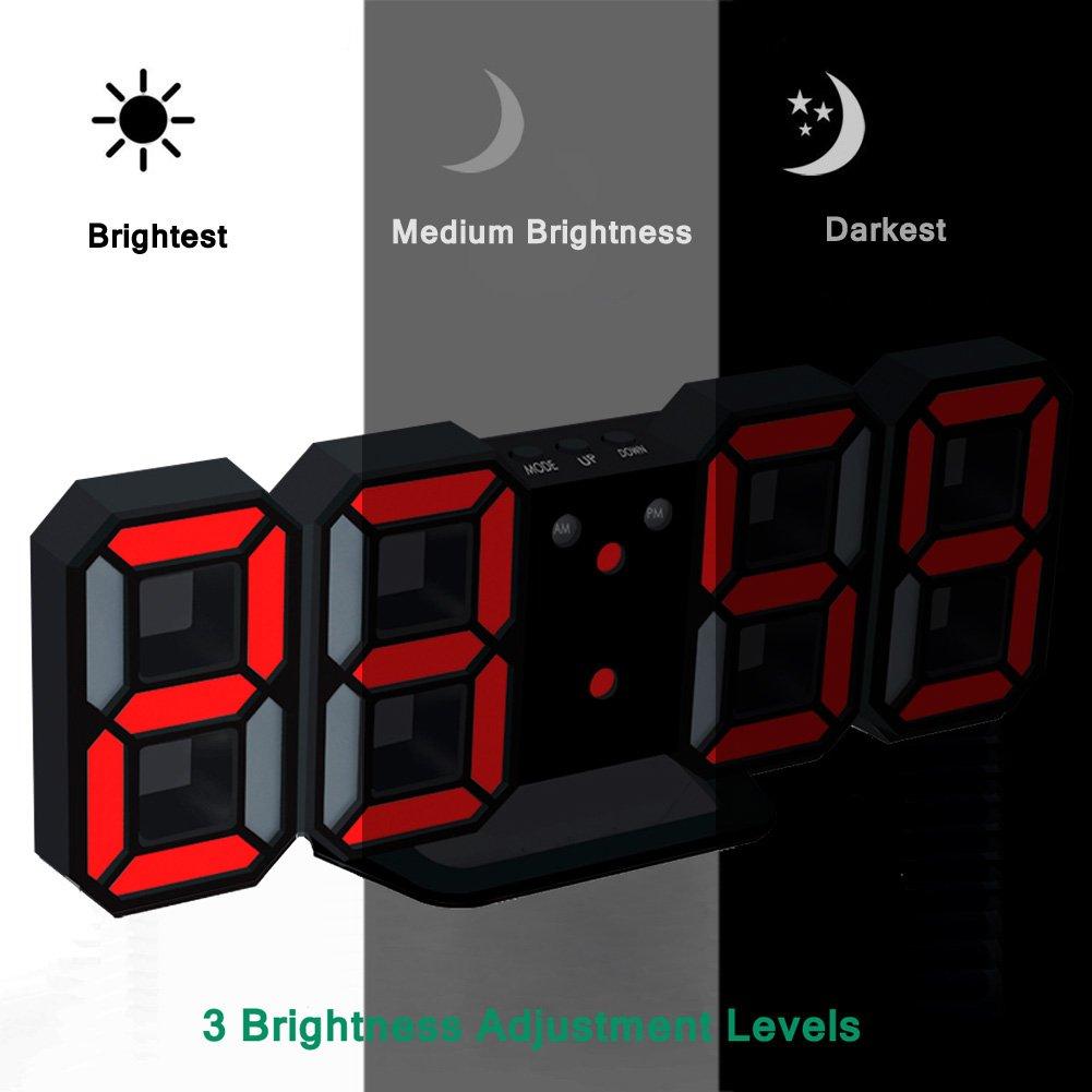 EAAGD electr/ónico LED despertador digital puede ajustar autom/áticamente el brillo de LED Blanco // Naranja