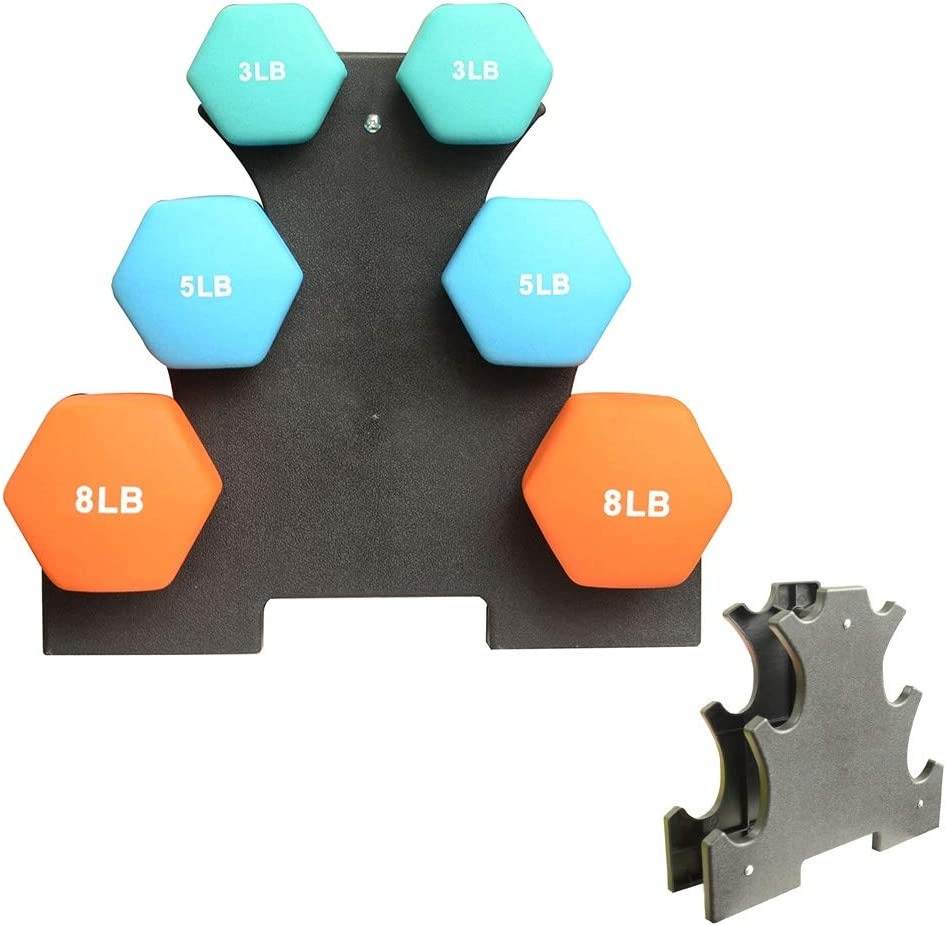 IMFUN Dumbbell Rack, Compact Dumbbell Bracket Free Weight Stand for Home Gym Black