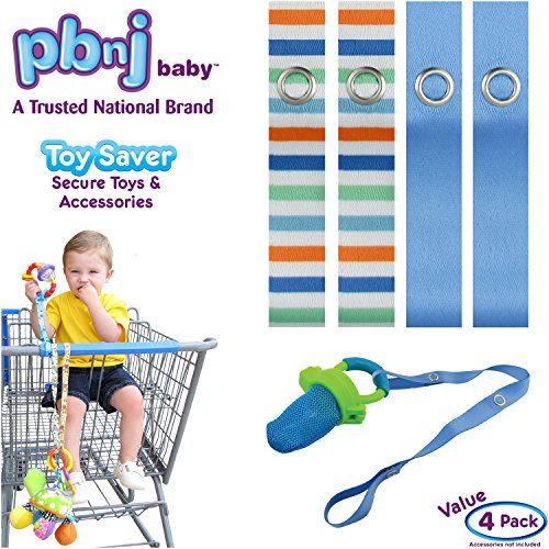 Buy PBnJ baby Toy Saver Strap Holder Leash Secure Accessories Beach/Blue - 4pc