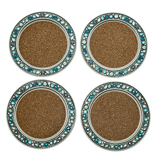 - Teal Jeweled Beads on Silver Tone Finish 4.5 inch Absorbent Cork Table Coaster Set of 4
