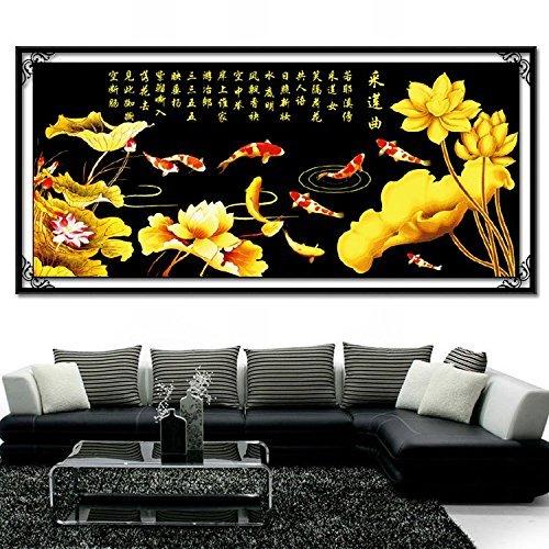 クロスステッチ、ハスの花、花、魚、中国スタイル、C0161 B01N9TQGEF