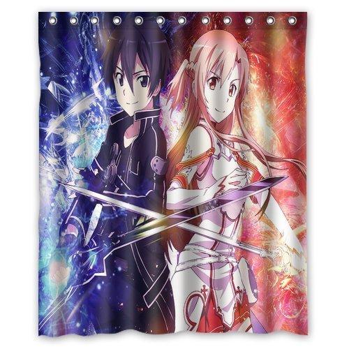 LIBIN ScottShop Custom Japanese Anime Sword Art Online Shower Curtain Decoration Waterproof Polyester Fabric Bathroom Shower Curtains