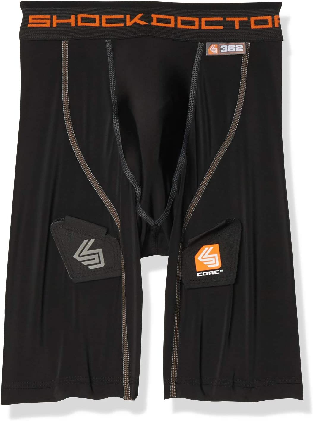 Shock Doctor Compression Shorts with Bio-Flex Supporter Cup Included. Boys,Youth & Adult Men