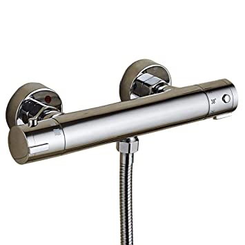 Redondo moderno termostático Barra Batidora Válvula de ducha grifo montado en la pared cuerpo de latón