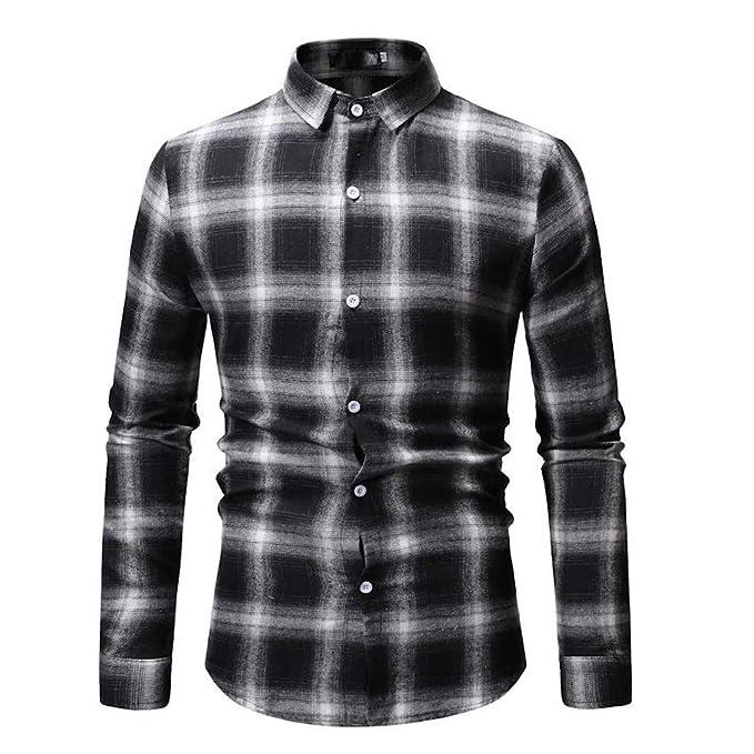 e15ed1b5b Btruely Camisas Hombre Manga Larga, Camisa Cuadros Slim fit ...