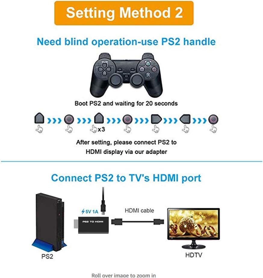 PS2 to HDMI Adapter ELUTENG PS2 HDMI Video Converter with 3.5mm Audio Output AV to HDMI Signal Transfer 1080P PS2 Video Adaptor Compatible with PS2 Console Playstation//HDTV HDMI Monitor