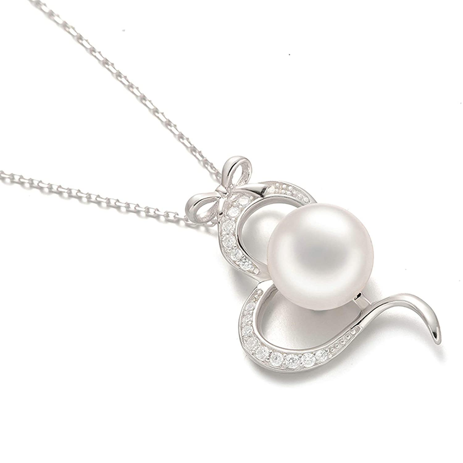 Aooaz Silver Material Necklace Women Girls Heart Bow Shape Pendant Necklaces Wedding