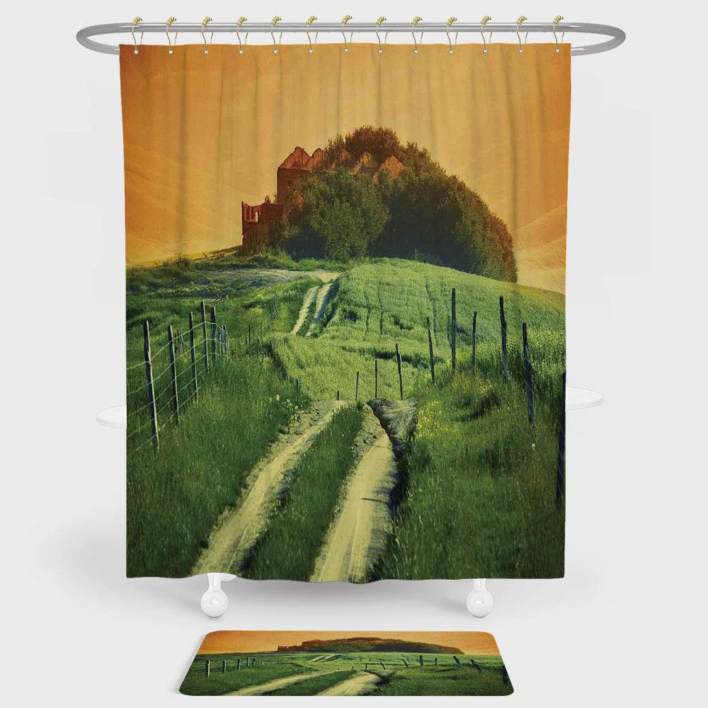 iPrint Tuscan Shower Curtain Floor Mat Combination Set Peaceful Landscape Pienza Tuscany Vineyard Trees Rural Ancient Farm House decoration daily use Orange Green