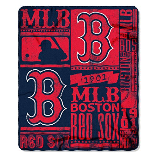 MLB Boston Red Sox Strength 50-inch by 60-inch Printed Fleece (Red Sox Throw)