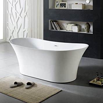 Design Element 71 Acrylic Freestanding Bathtub White Shower Soaking Reclining Tub For Bathroom With Overflow And Drain Cupc Certified Amazon Com