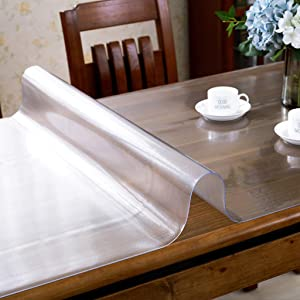 NuAnYI Clear PVC Table Protector,Rectangular Printed Table Cloth Waterproof Vinyl Table Cover for Desk Dining Coffee Table-Frosted 90x130cm(35x51inch)