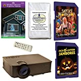 AtmosFearFx Christmas and Halloween Digital Decoration Kit includes 1900 lumen Projector, Hollusion + Reaper Bros Rear Projection Screens, Santa's Workshop and JackOLantern Jamboree on SD Cards