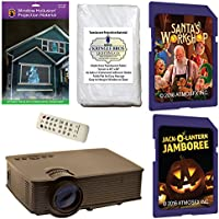 AtmosFearFx Christmas and Halloween Digital Decoration Kit includes 1900 lumen Projector, Hollusion + Reaper Bros Rear Projection Screens, Santas Workshop and JackOLantern Jamboree on SD Cards