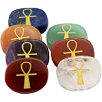 F Fityle Set of 7 Palm Stones Egyptian Ankh Cross Engraved Gemstones for Friends Gift