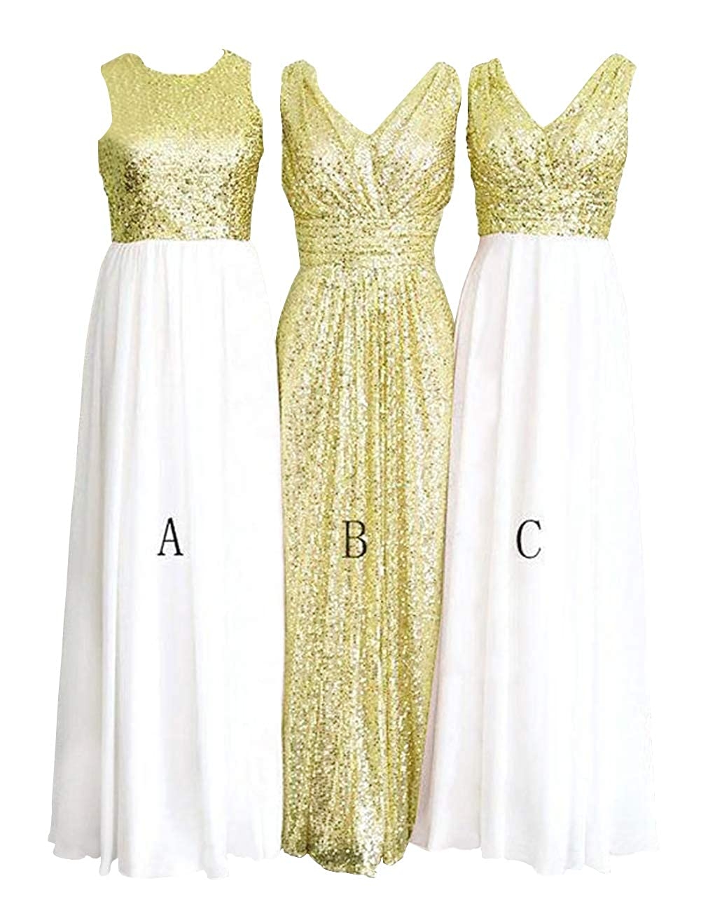 Cwhite and gold Yellow H.S.D Women's pink gold Sequins Paillettes Long Bridesmaid Party Prom Dress