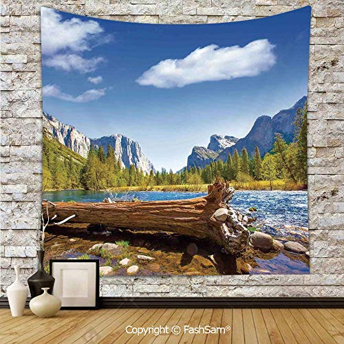 (FashSam Tapestry Wall Blanket Wall Decor Yosemite Merced River El Capitan Half Dome in California National Park Waterscape Home Decorations for)