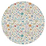iPrint Round Tablecloth [ Tea Party,Pattern with Cute Pastime Things Baby Bunny Tea Glasses Balls of Yarn and Needles,Multicolor ] Decorative Ideas
