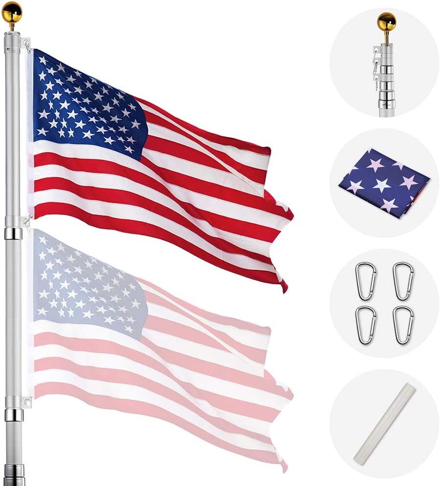 Yeshom 25ft Telescopic Aluminum Flag Pole 16 Gauge Fly 2 Flags 3'x5' US Flag Ball Top Kit Telescoping Flagpole Outdoor