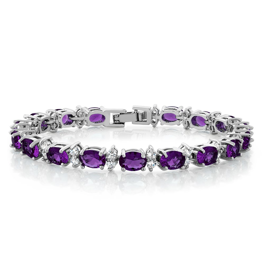 Gem Stone King 20.00 Ct Oval & Round Purple Color Cubic Zirconias CZ Women's Tennis Bracelet 7 Inch by Gem Stone King