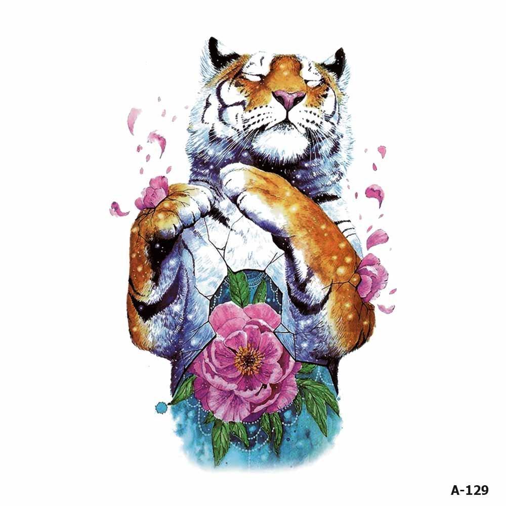 WYUEN 5 Sheets Watercolor Tiger Tattoo Waterproof Temporary Tattoo Sticker for Women Men Fake Body Art 9.8X6cm A-129