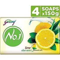Godrej No.1 Bathing Soap ? Lime & Aloe Vera, 150g (Pack of 4)
