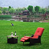NatureFun Indoor/Outdoor Wicker Adjustable Recliner Chair, Relaxing Lounge Chair with Thick Spunpoly Cushion