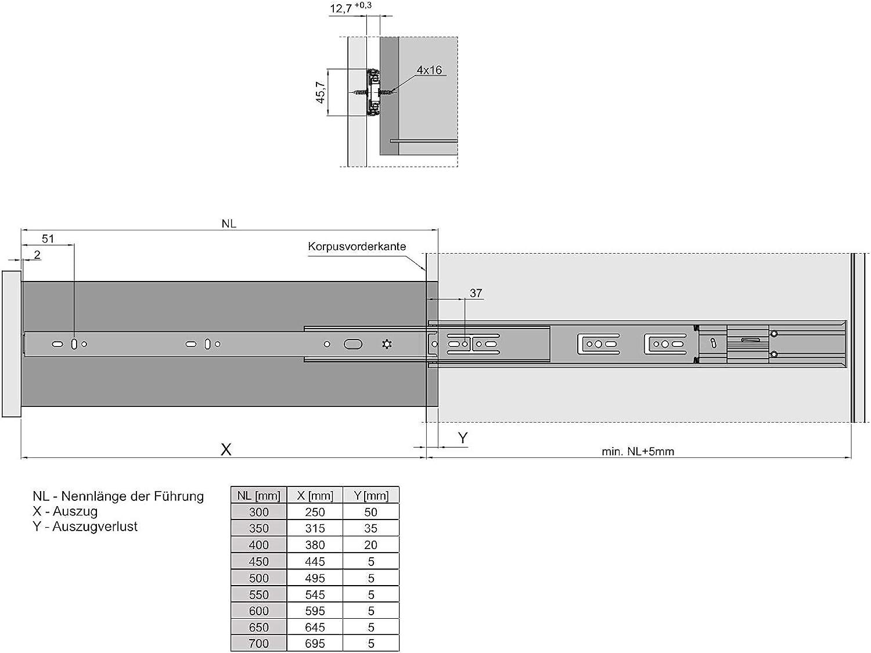 Guide a Uscita Totale 650 mm con Chiusura Automatica e Ammortizzazione 2 Pezzi 1 PAIO SoftClose 45 Kg Capacit/à di Carico di JUNKER