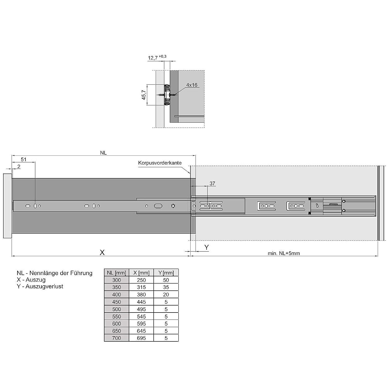4 piezas Gu/ías de Extracci/ón Total 400 mm con Amortiguador y Nuevo Mecanismo de Retracci/ón Soft-Close Capacidad de Carga 45kg de JUNKER 2 pares