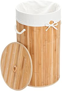KepooMan Laundry Hamper Bamboo Barrel Type Foldable Storage Laundry Basket Dirty Clothes Organizer Hamper with Lid,Removable Cotton Liner,Handles,Wood Color