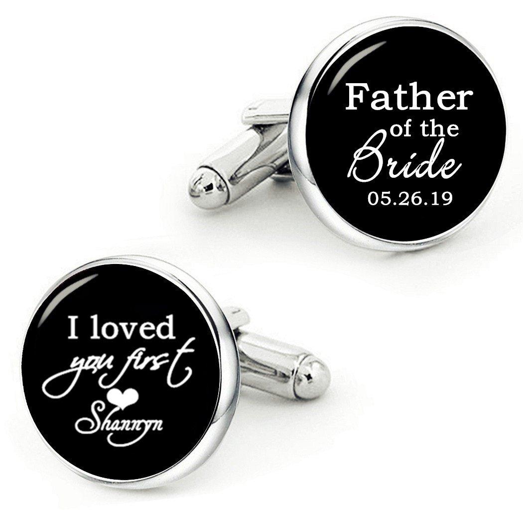 Kooer Father of The Bride Cufflinks Handmade Custom Wedding Personalized Cuff Links Jewelry (Style 3)