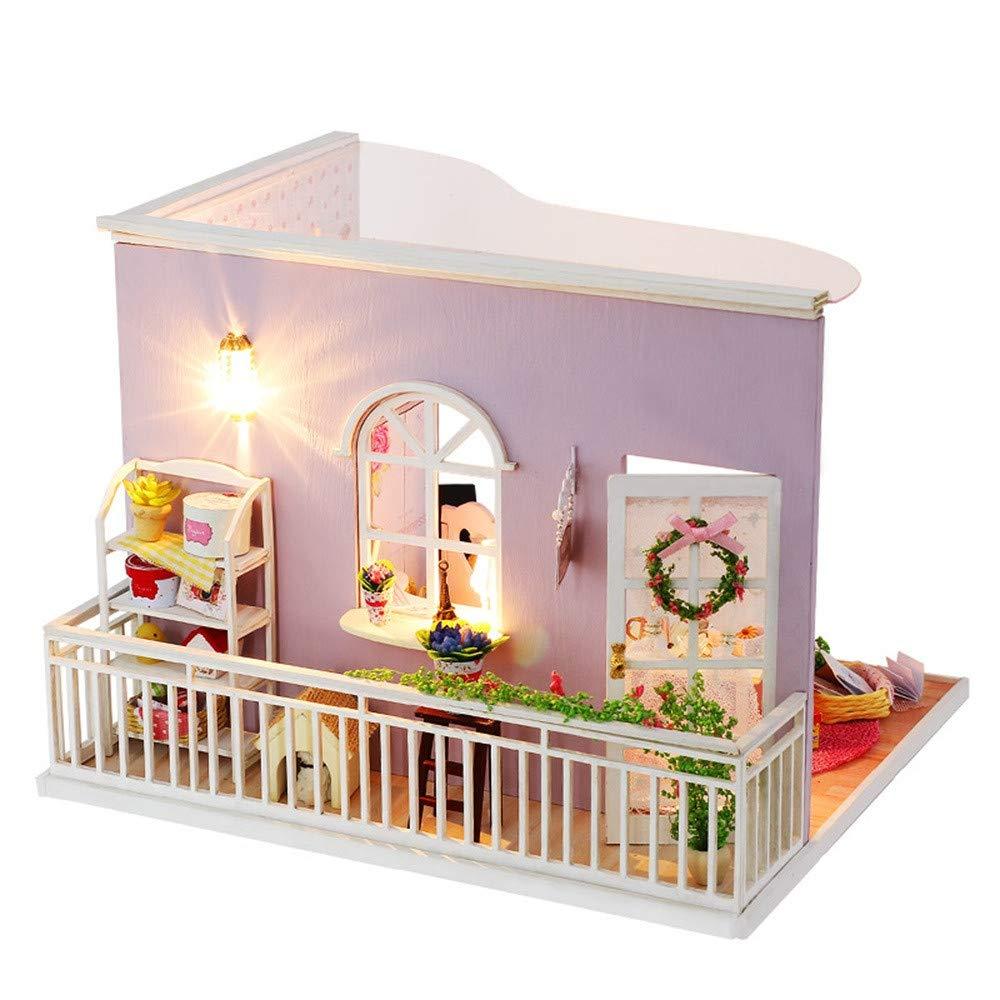 theshy 3d casa de madera DIY muebles casa LED Puzzle decorar ...