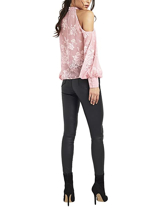 220cd06fc89290 Lipsy Womens Burnout Cold Shoulder Top - Pink -: Amazon.co.uk: Clothing