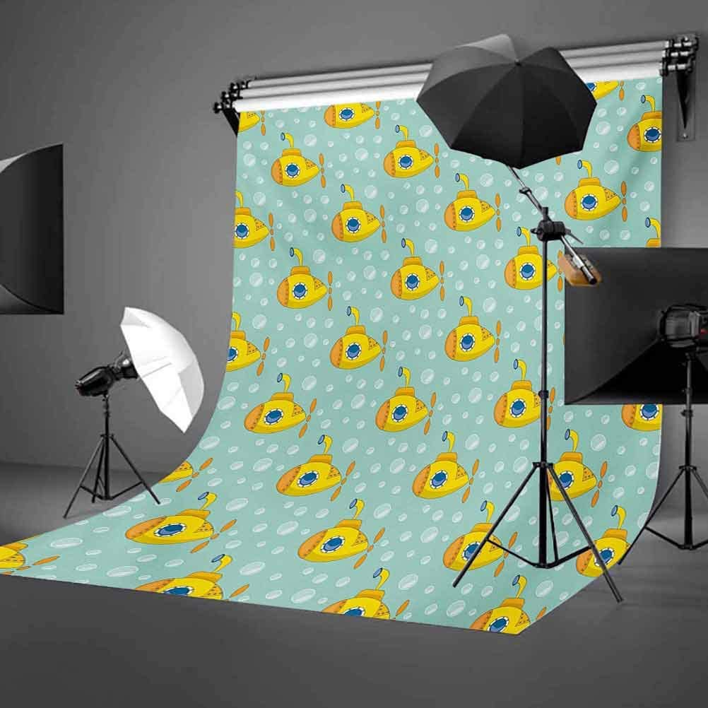 Yellow Submarine 10x12 FT Backdrop Photographers,Nautical Design Illustration of a Submarine and Bubbles Background for Party Home Decor Outdoorsy Theme Vinyl Shoot Props Seafoam and Earth Yellow