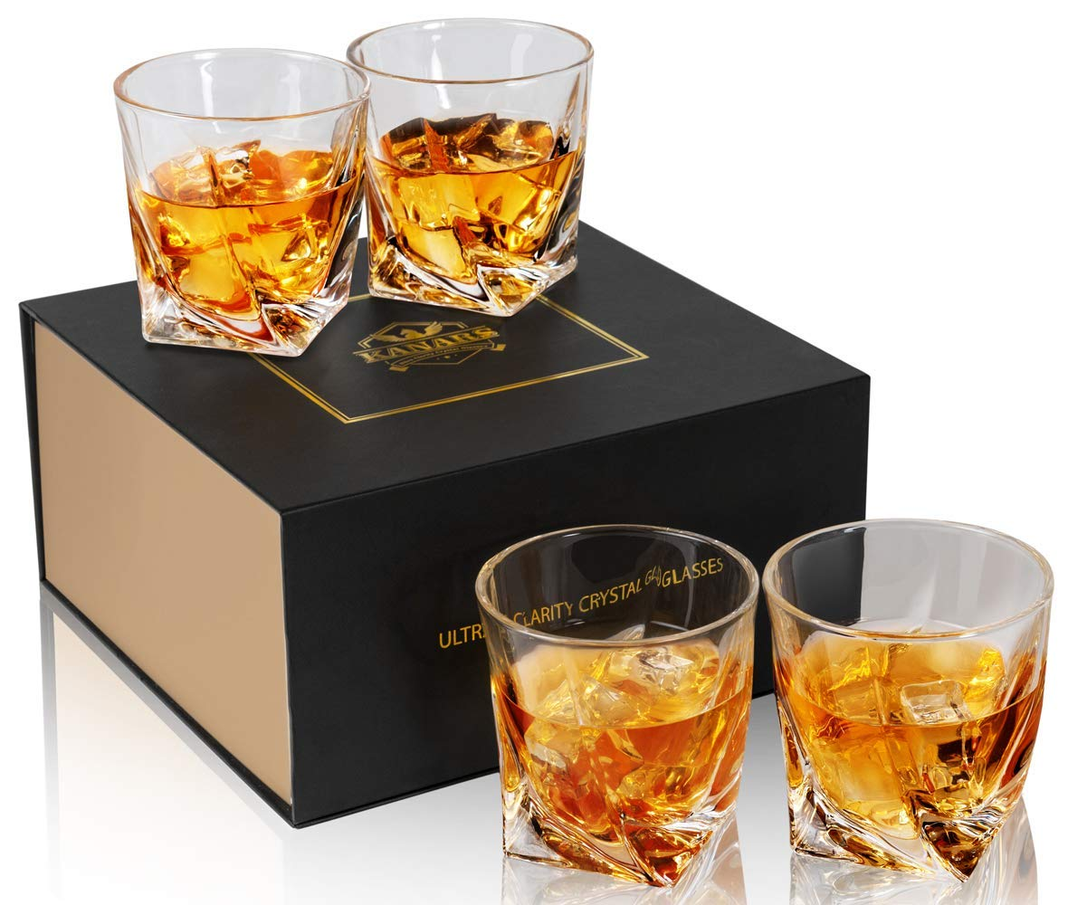 KANARS Rocks Glasses, Twist Whiskey Glass Tumblers Set Of 4 - Premium Lead Free Crystal - Large 10 Oz Old Fashioned Cocktail Glass For Scotch, Bourbon Or Whisky - Luxury Gift Box for Men And Women by KANARS