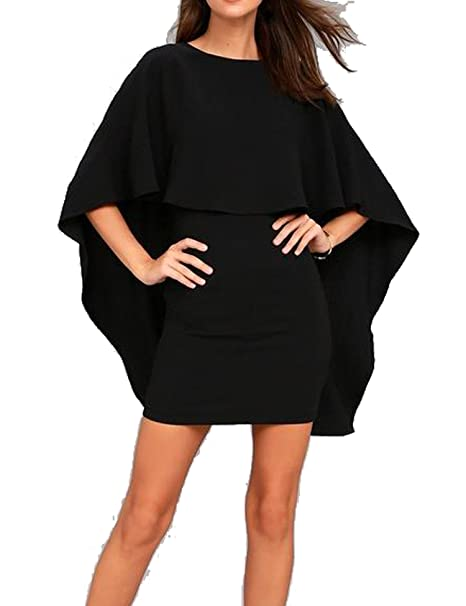 e1c3bf42320 Women s Sexy Ruffle Cape Hollow Out Bodycon Party Mini Club Dress at ...